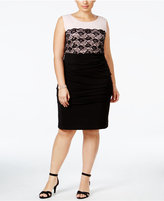 Connected Plus Size Contrast-Lace Dress