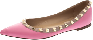 Valentino Pink Leather Rockstud Pointed Toe Ballet Flats Size 37