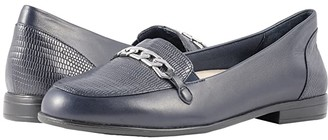 Trotters Anastasia (Navy Leather Lizard/Stamp) Women's Flat Shoes