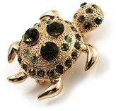 Avalaya Small Emerald Green Swarovski Crystal Turtle Brooch ( Tone)