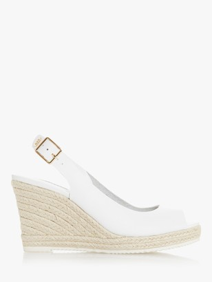 Dune Wide Fit Knox 2 Leather Peep Toe Espadrille Wedges, White