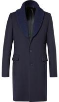 Paul Smith Ribbed Shawl-collar Wool Overcoat - Navy