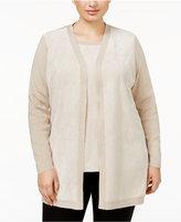 Calvin Klein Plus Size Faux-Suede-Front Cardigan