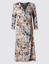 Marks and Spencer Fern Print Wrap 3/4 Sleeve Bodycon Dress