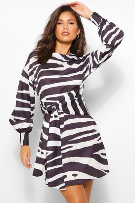 boohoo Zebra Print Belted Long Sleeve Shift Dress