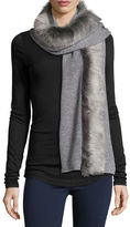 UGG Luxe Wool-Blend Scarf w/ Toscana Fur Trim, Gray