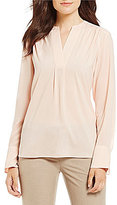 Calvin Klein V-Neck Long Sleeve Split Bell Cuff Blouse