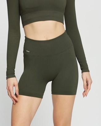 Aim'n - Women's Green Tights - Ribbed Midi Biker Shorts - Size L at The Iconic