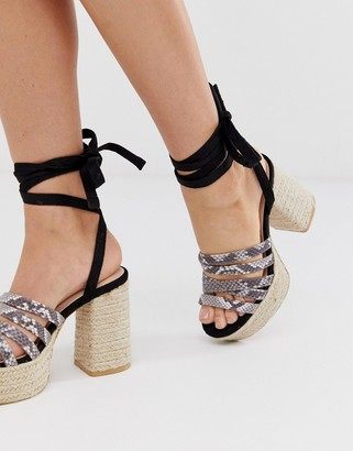 Lost Ink tie leg espadrille platform heeled sandal-Black