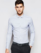 Asos Skinny Shirt In Micro Blue Stripe With Long Sleeves