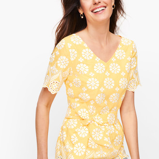 Talbots Embroidered Belted Peplum Top