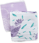 Swankie Blankie Two-Piece Burp Cloth Set, White/Purple