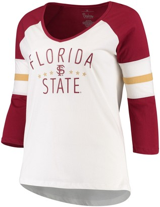 Women's Pressbox Cream/Garnet Florida State Seminoles Plus Size Pomona 3/4 Sleeve V-Neck T-Shirt