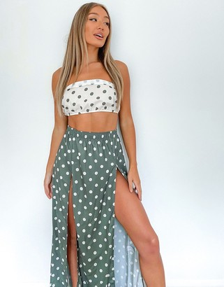 ASOS DESIGN maxi beach skirt co-ord in khaki spot
