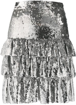 MSGM Sequin-Embellished Tiered Mini Skirt