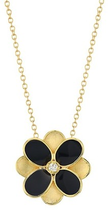 Marco Bicego Petali 18K Yellow Gold, Black Enamel & Diamond Small Flower Pendant Necklace