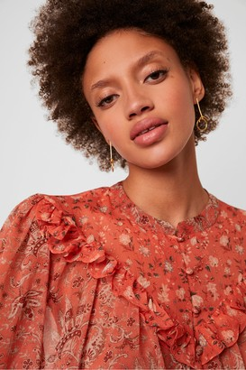 French Connection Esi Semi-Sheer Printed Blouse