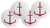 Caskata Set of 4 Anchor Canape Plates - Red red/white