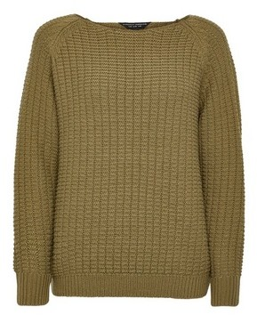 Dorothy Perkins Womens Khaki Textured Wide Neck Jumper, Khaki