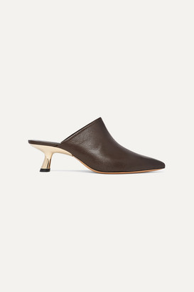 Simon Miller Kicker Textured-leather Mules - Brown