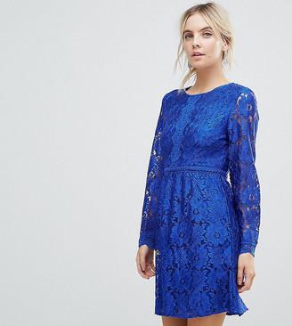 Yumi Petite Lace Detail Skater Dress