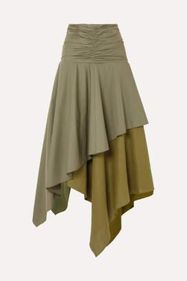 Loewe Asymmetric Ruffled Poplin And Linen Skirt - Army green