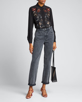 Etro Floral-Sequined Silk Evening Blouse