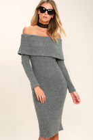 J.o.a. Story to Tell Grey Off-the-Shoulder Sweater Dress
