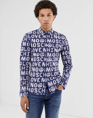 Love Moschino long sleeve shirt with allover logo print-Blue