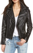 BB Dakota Women's Jerilyn Studded Washed Faux Leather Jacket