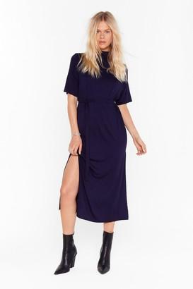 Nasty Gal Womens Tee BT Belted Midi Dress - navy - 4