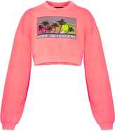 Alexander Wang Cropped Intarsia French Cotton-terry Sweatshirt - Coral