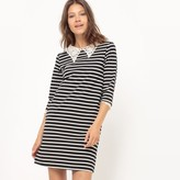 Molly Bracken Striped Dress with 3/4-Length Sleeves and Faux Lace Collar