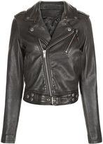 BLK DNM Black Leather Fur Collar Jacket