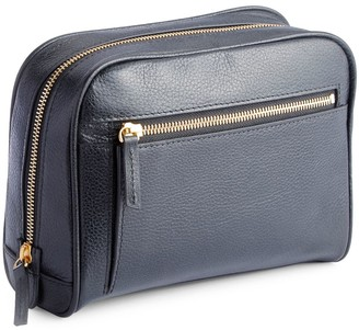 Royce New York Pebbled Leather Zip Toiletry Bag