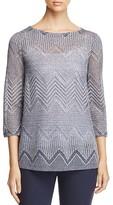 Lafayette 148 New York Chevron-Knit Boat Neck Sweater