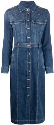 7 For All Mankind Button-Up Denim Shirt Dress