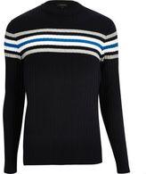 River Island MensNavy stripe ribbed slim fit sweater