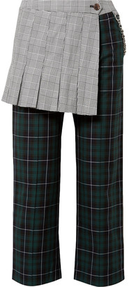 Sandy Liang Layered Checked Cotton-canvas Straight-leg Pants