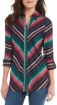 Intro Miter Stripe Roll-Tab Sleeve Button Front Shirt