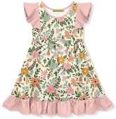 Millie Loves Lily Girls' Casual Dresses Ecru - Pink & Ecru Wildflower Angel-Sleeve A-Line Dress - Toddler & Girls