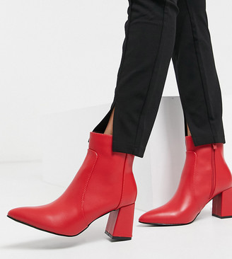 Raid Wide Fit Sapphire heeled ankle boots in red leather look