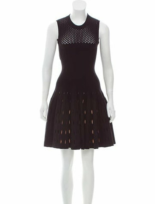 Alaia Wool-Blend Fit and Flare Dress w/ Tags Black