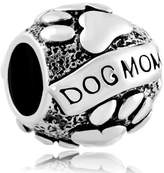 Pugster Silver Plated Dog Paw Print Mom Bead Fit Pandora Charms