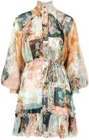Zimmermann Wavelength Floral-print Silk Mini Dress