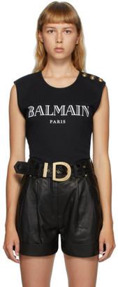 Balmain Black 3-Button Logo Tank Top