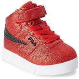 Fila Toddler/Kids Girls) Fire Red & Black Vulc 13 Glitter Blast High Top Sneakers