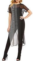Calvin Klein Stripe Chiffon Short Sleeve Long Tunic