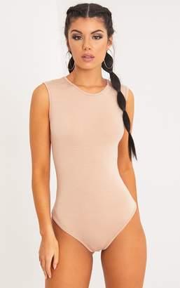 PrettyLittleThing Basic Nude Round Neck Thong Bodysuit