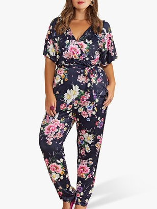 Yumi Curves Floral Print Short Sleeve Jumpsuit, Navy/Multi